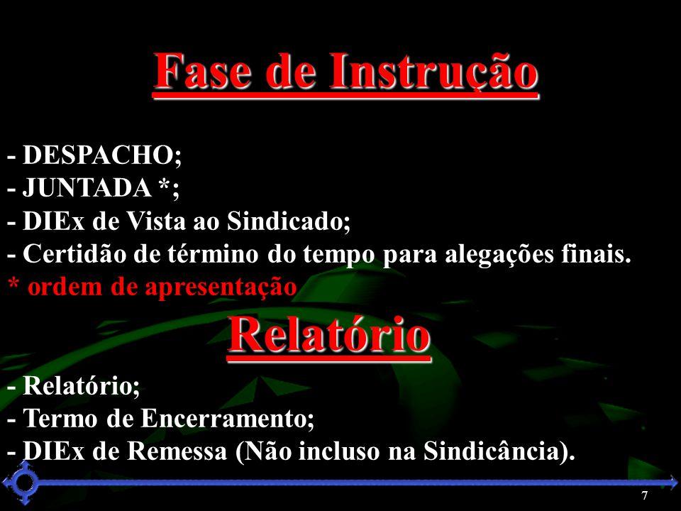 7 Fase de Instrução - DESPACHO; - JUNTADA *; - DIEx de Vista ao Sindicado; - Certidão de término do tempo para alegações finais. * ordem de apresentaç