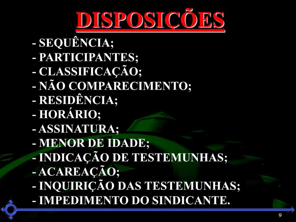 9 DISPOSIÇÕES - SEQUÊNCIA; - PARTICIPANTES; - CLASSIFICAÇÃO; - NÃO COMPARECIMENTO; - RESIDÊNCIA; - HORÁRIO; - ASSINATURA; - MENOR DE IDADE; - INDICAÇÃ