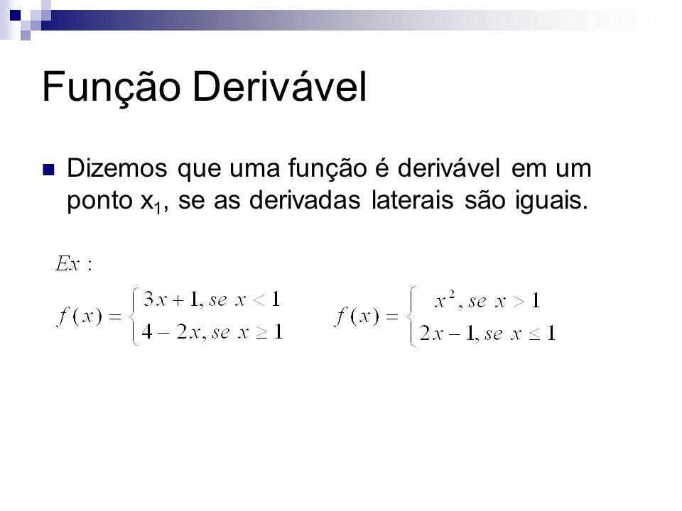 Função Derivável Dizemos que uma função é derivável em um ponto x 1, se as derivadas laterais são iguais.