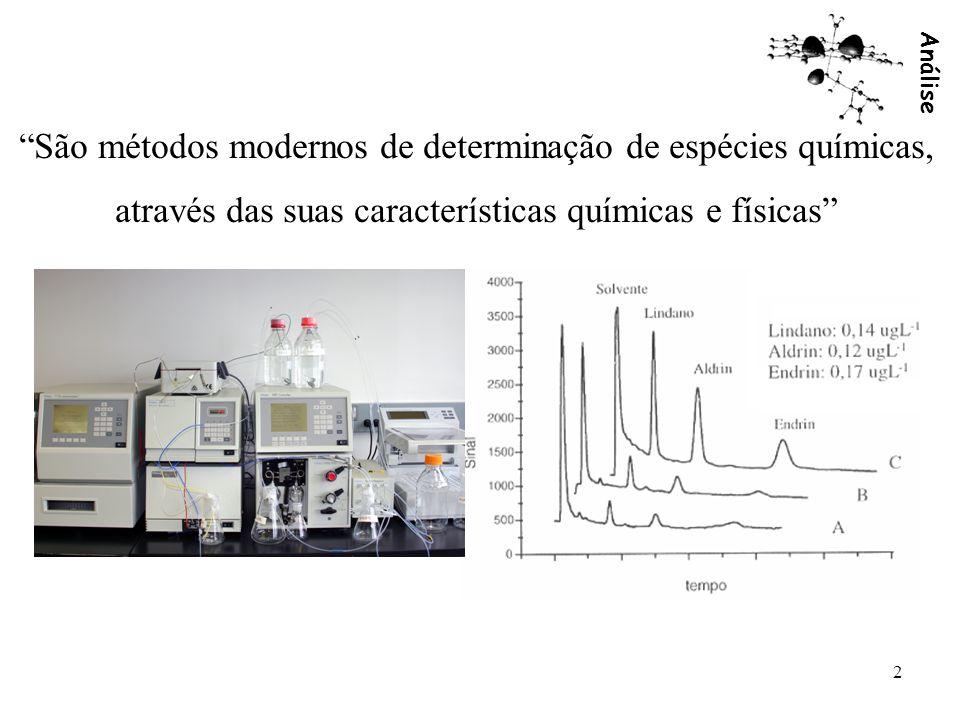Análise 2 São métodos modernos de determinação de espécies químicas, através das suas características químicas e físicas