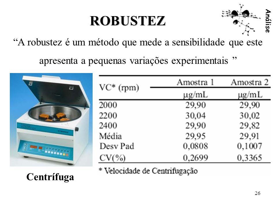 Análise 26 ROBUSTEZ A robustez é um método que mede a sensibilidade que este apresenta a pequenas variações experimentais Centrífuga