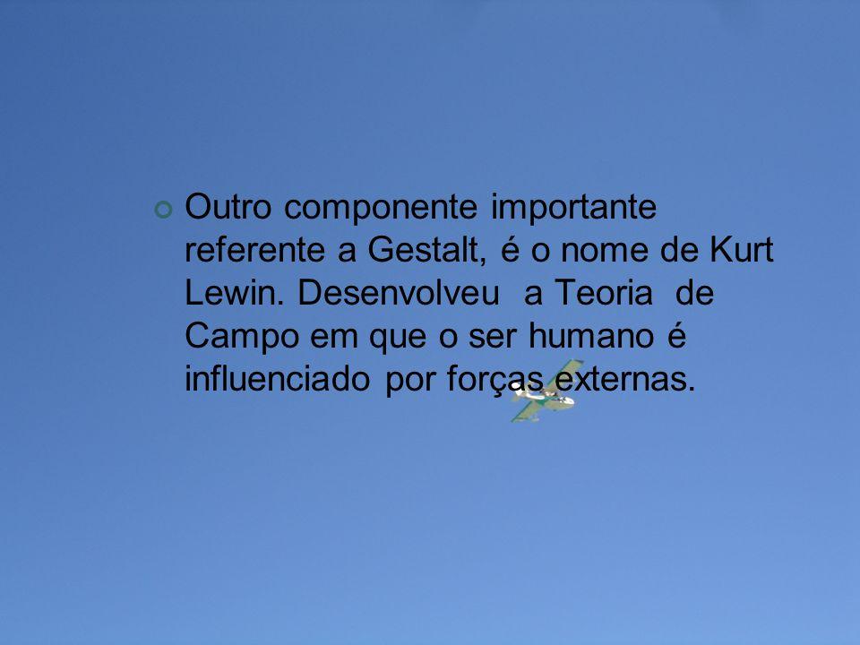 Outro componente importante referente a Gestalt, é o nome de Kurt Lewin. Desenvolveu a Teoria de Campo em que o ser humano é influenciado por forças e