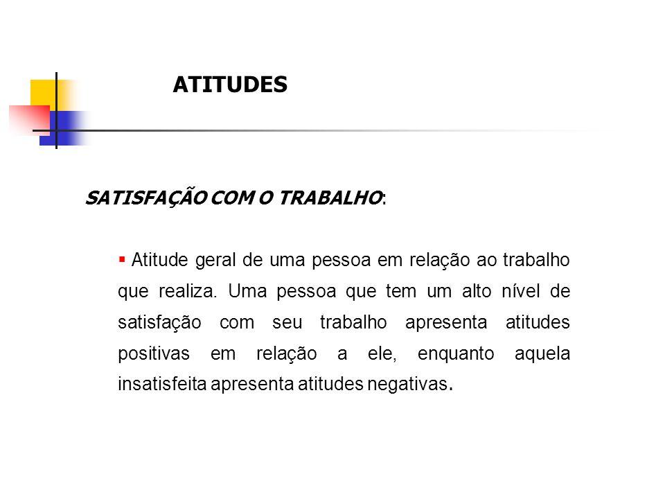 ATITUDES SATISFAÇÃO COM O TRABALHO: A titude geral de uma pessoa em relação ao trabalho que realiza. Uma pessoa que tem um alto nível de satisfação co