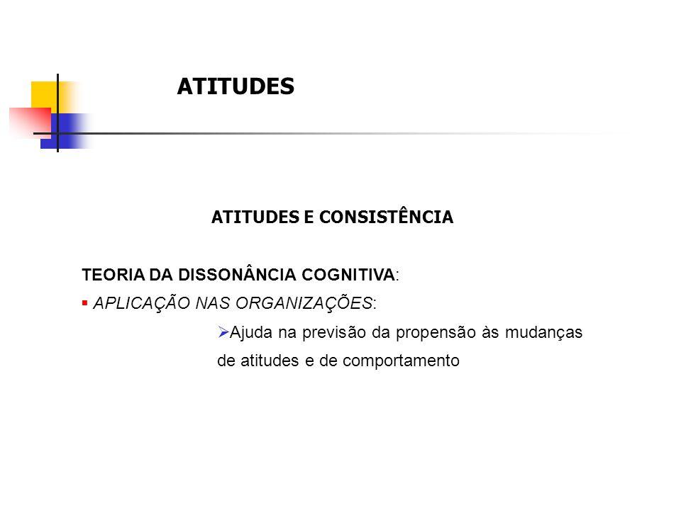 ATITUDES ATITUDES E CONSISTÊNCIA TEORIA DA DISSONÂNCIA COGNITIVA: APLICAÇÃO NAS ORGANIZAÇÕES: Ajuda na previsão da propensão às mudanças de atitudes e