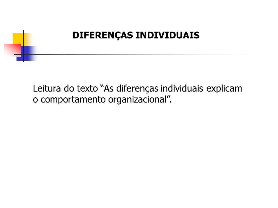 DIFERENÇAS INDIVIDUAIS Leitura do texto As diferenças individuais explicam o comportamento organizacional.