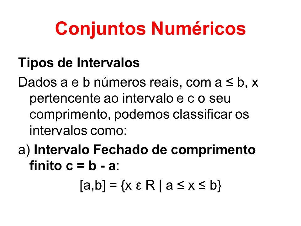 Conjuntos Numéricos Tipos de Intervalos Dados a e b números reais, com a b, x pertencente ao intervalo e c o seu comprimento, podemos classificar os i