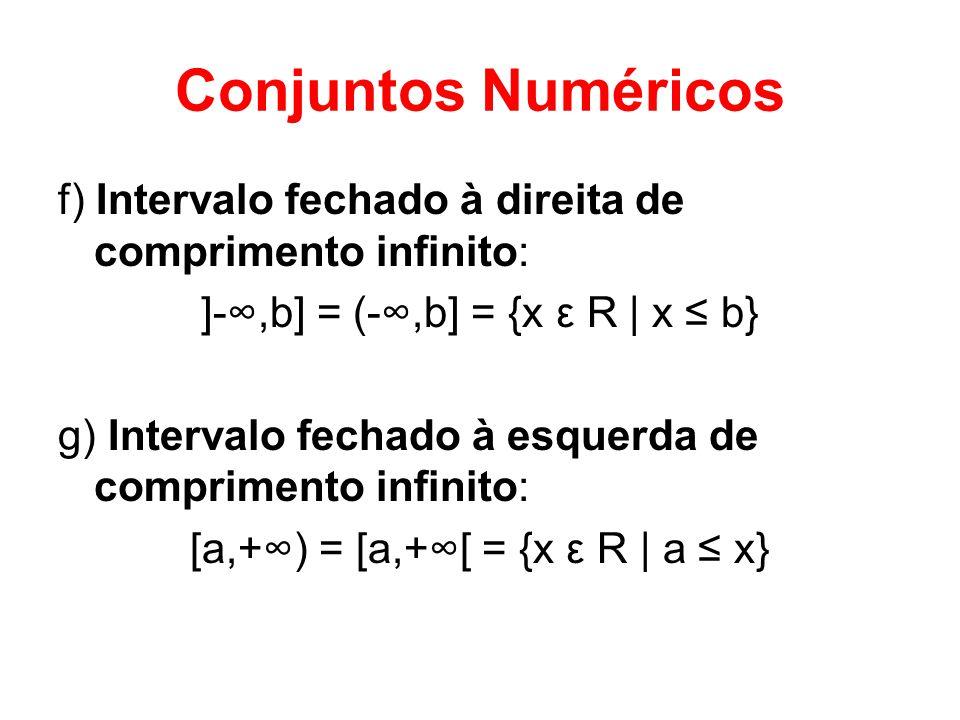 Conjuntos Numéricos f) Intervalo fechado à direita de comprimento infinito: ]-,b] = (-,b] = {x ε R | x b} g) Intervalo fechado à esquerda de comprimen