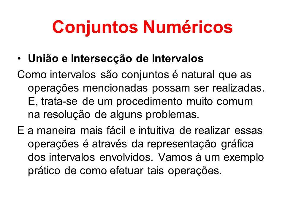 Conjuntos Numéricos União e Intersecção de Intervalos Como intervalos são conjuntos é natural que as operações mencionadas possam ser realizadas. E, t
