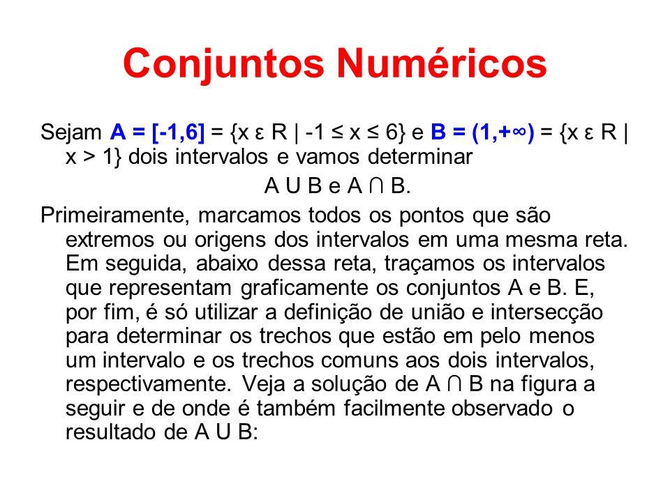 Conjuntos Numéricos Sejam A = [-1,6] = {x ε R | -1 x 6} e B = (1,+) = {x ε R | x > 1} dois intervalos e vamos determinar A U B e A B. Primeiramente, m