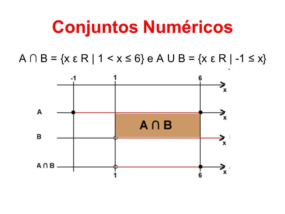 Conjuntos Numéricos A B = {x ε R | 1 < x 6} e A U B = {x ε R | -1 x}
