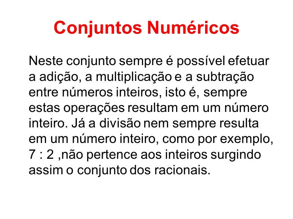 Conjuntos Numéricos Neste conjunto sempre é possível efetuar a adição, a multiplicação e a subtração entre números inteiros, isto é, sempre estas oper