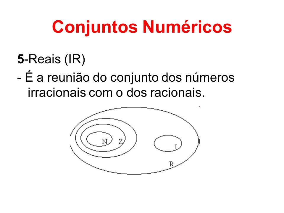 Conjuntos Numéricos 5-Reais (IR) - É a reunião do conjunto dos números irracionais com o dos racionais.