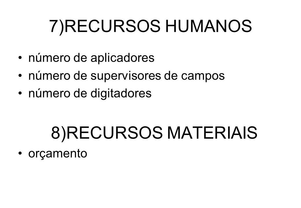 7)RECURSOS HUMANOS número de aplicadores número de supervisores de campos número de digitadores 8)RECURSOS MATERIAIS orçamento