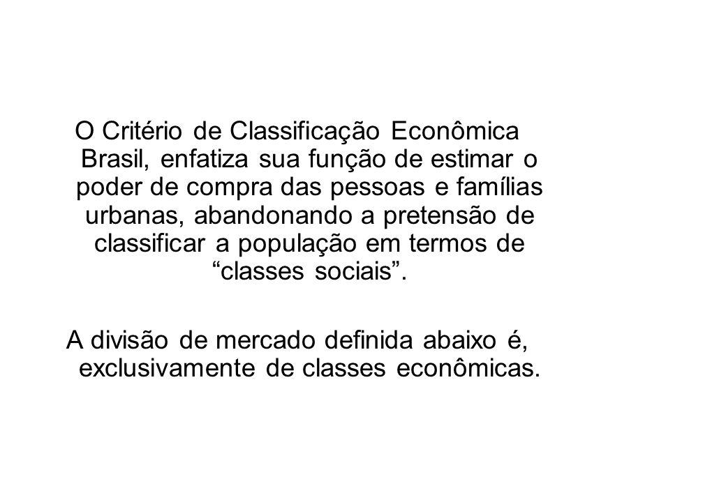 O Critério de Classificação Econômica Brasil, enfatiza sua função de estimar o poder de compra das pessoas e famílias urbanas, abandonando a pretensão