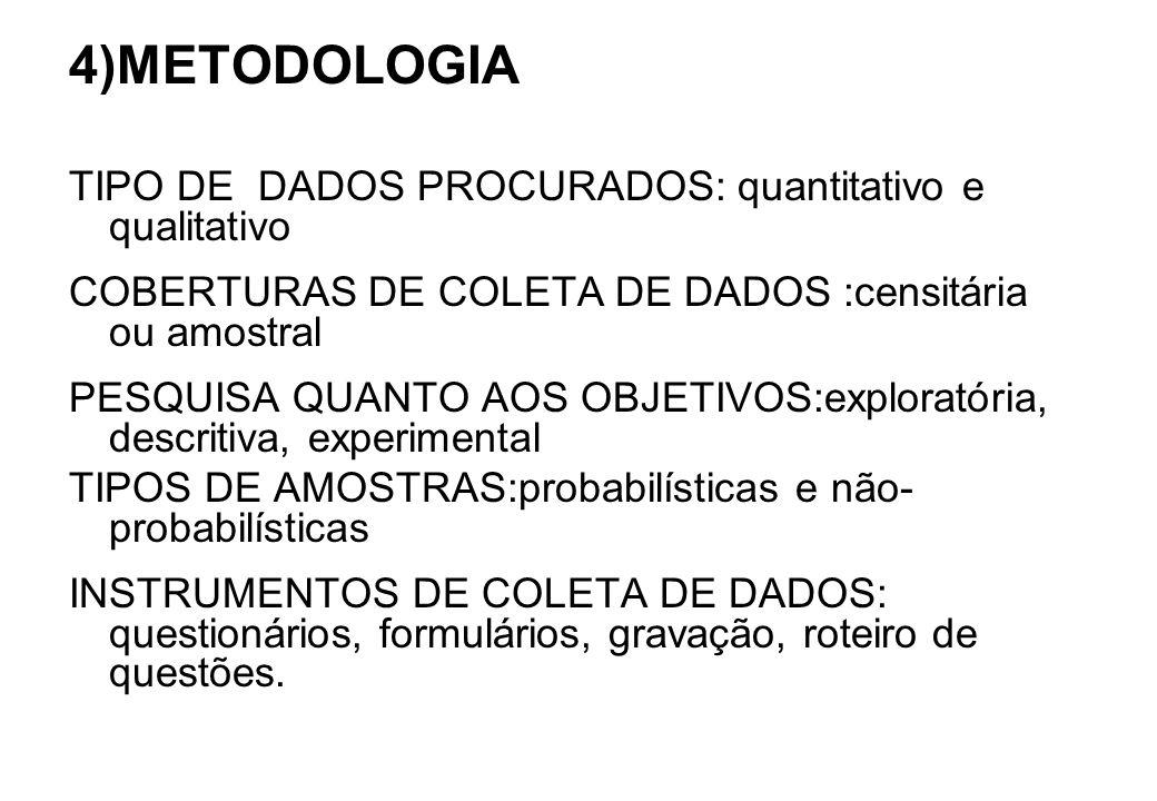 4)METODOLOGIA TIPO DE DADOS PROCURADOS: quantitativo e qualitativo COBERTURAS DE COLETA DE DADOS :censitária ou amostral PESQUISA QUANTO AOS OBJETIVOS