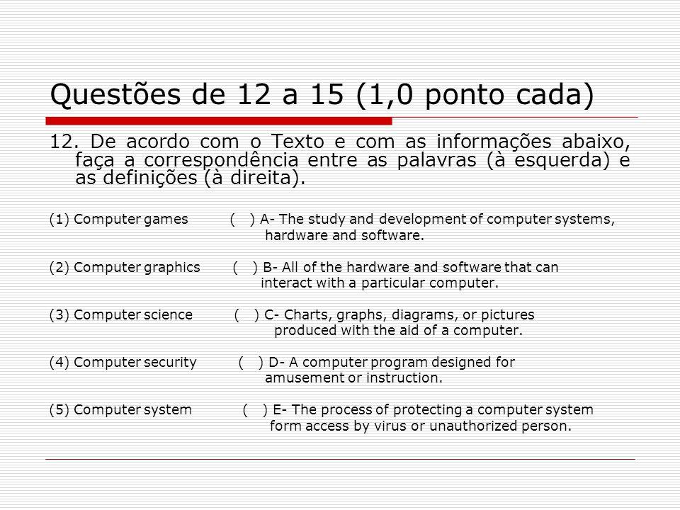 Questões de 12 a 15 (1,0 ponto cada) 12. De acordo com o Texto e com as informações abaixo, faça a correspondência entre as palavras (à esquerda) e as