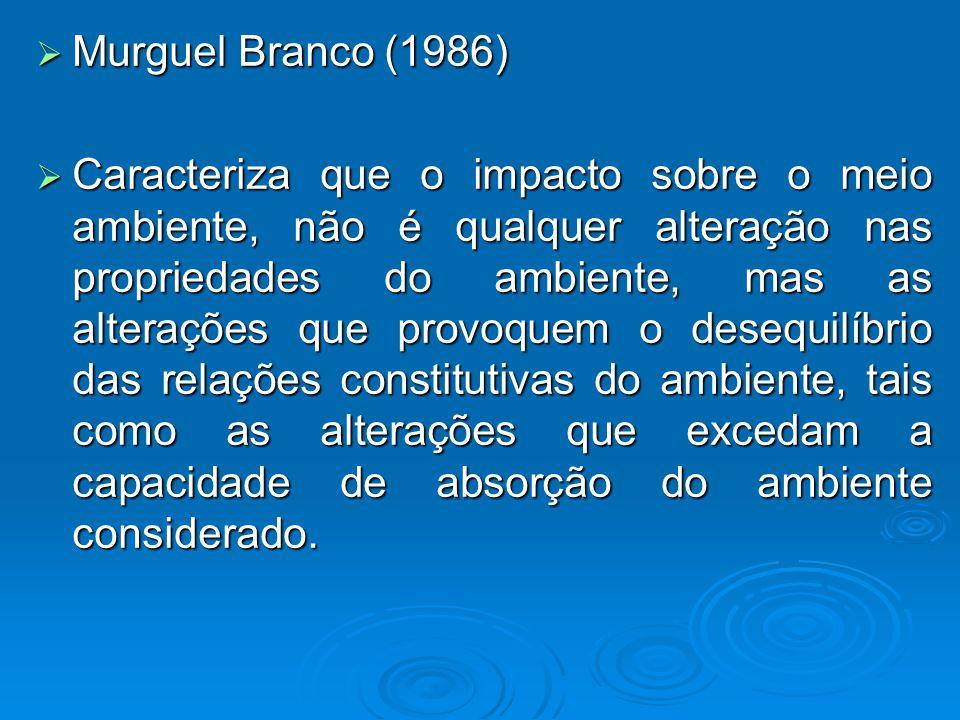 Murguel Branco (1986) Murguel Branco (1986) Caracteriza que o impacto sobre o meio ambiente, não é qualquer alteração nas propriedades do ambiente, mas as alterações que provoquem o desequilíbrio das relações constitutivas do ambiente, tais como as alterações que excedam a capacidade de absorção do ambiente considerado.