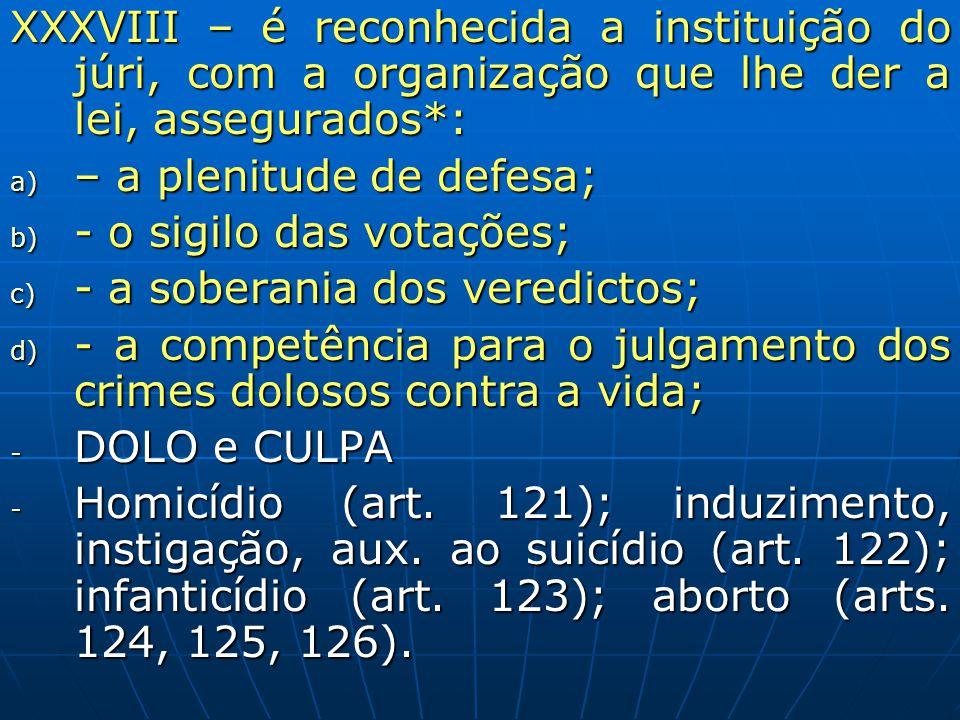 XXXVIII – é reconhecida a instituição do júri, com a organização que lhe der a lei, assegurados*: a) – a plenitude de defesa; b) - o sigilo das votaçõ