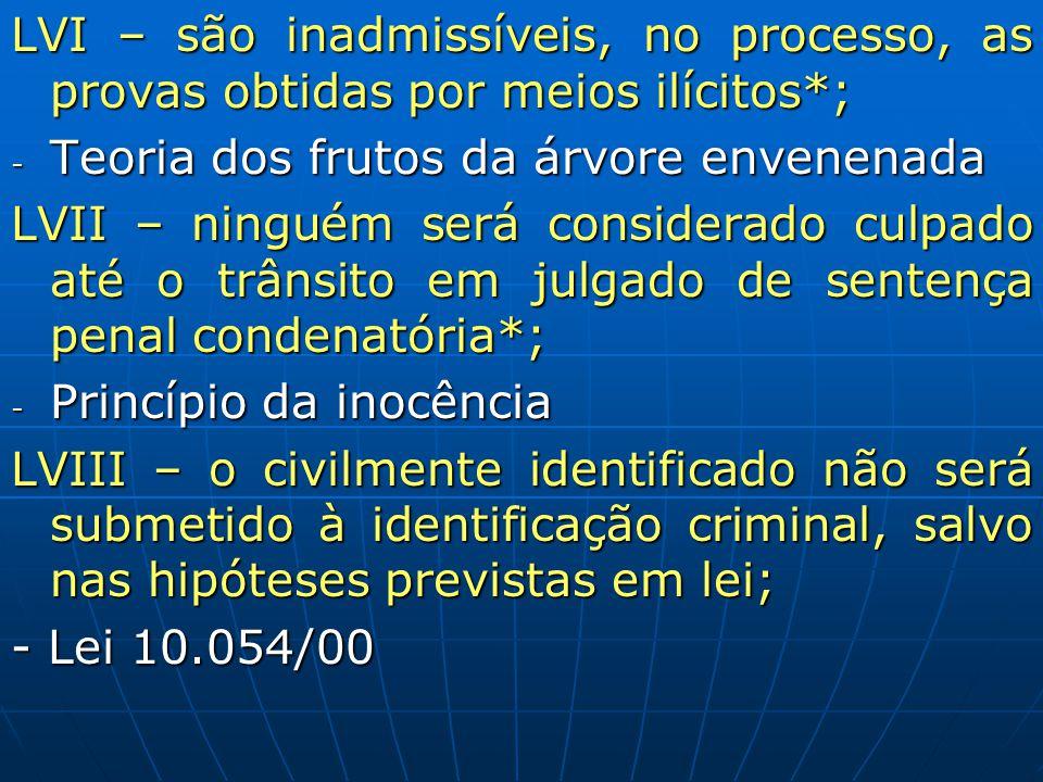 LVI – são inadmissíveis, no processo, as provas obtidas por meios ilícitos*; - Teoria dos frutos da árvore envenenada LVII – ninguém será considerado