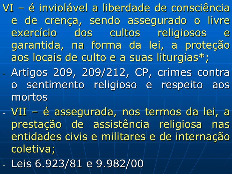 VI – é inviolável a liberdade de consciência e de crença, sendo assegurado o livre exercício dos cultos religiosos e garantida, na forma da lei, a pro