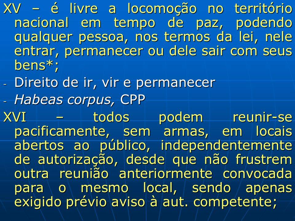 XV – é livre a locomoção no território nacional em tempo de paz, podendo qualquer pessoa, nos termos da lei, nele entrar, permanecer ou dele sair com