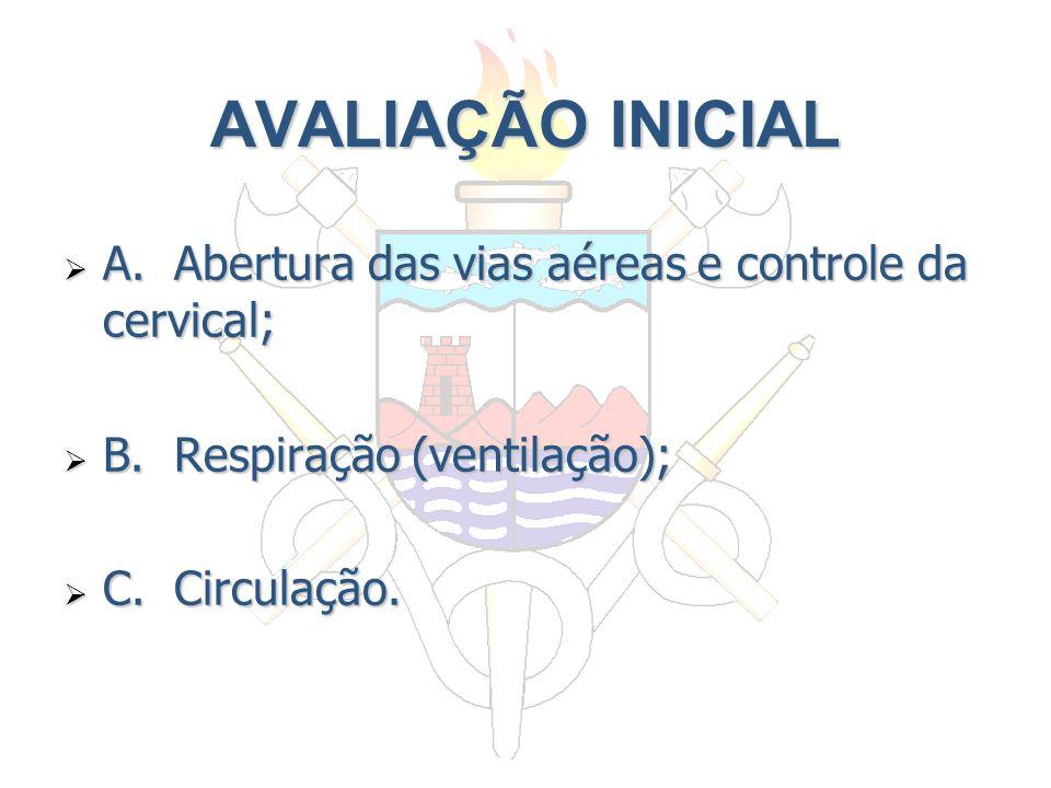 AVALIAÇÃO INICIAL A. Abertura das vias aéreas e controle da cervical; A. Abertura das vias aéreas e controle da cervical; B. Respiração (ventilação);