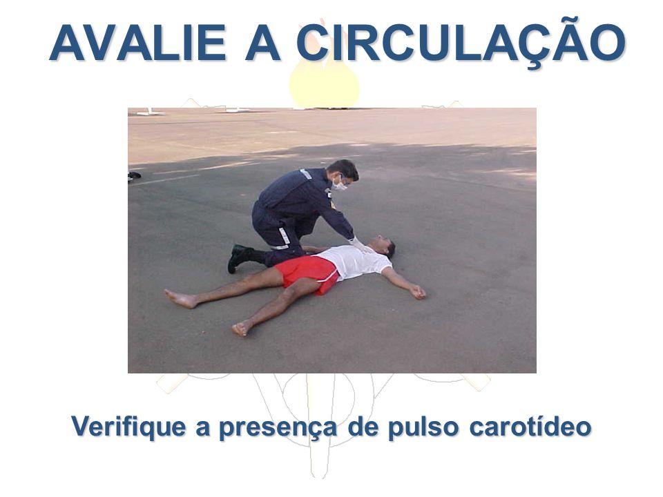 AVALIE A CIRCULAÇÃO AVALIE A CIRCULAÇÃO Verifique a presença de pulso carotídeo