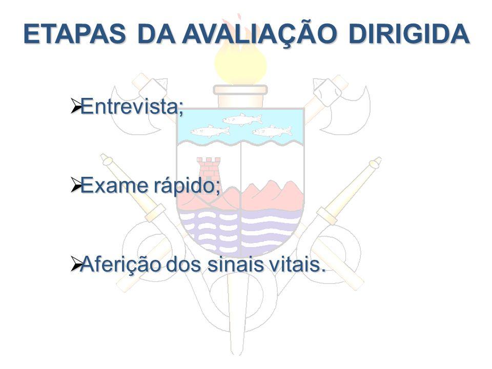 ETAPAS DA AVALIAÇÃO DIRIGIDA Entrevista; Entrevista; Exame rápido; Exame rápido; Aferição dos sinais vitais. Aferição dos sinais vitais.