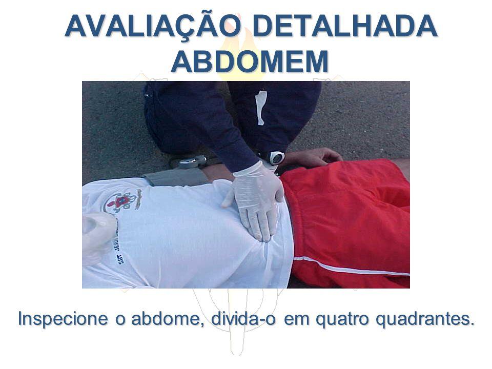 AVALIAÇÃO DETALHADA ABDOMEM AVALIAÇÃO DETALHADA ABDOMEM Inspecione o abdome, divida-o em quatro quadrantes.