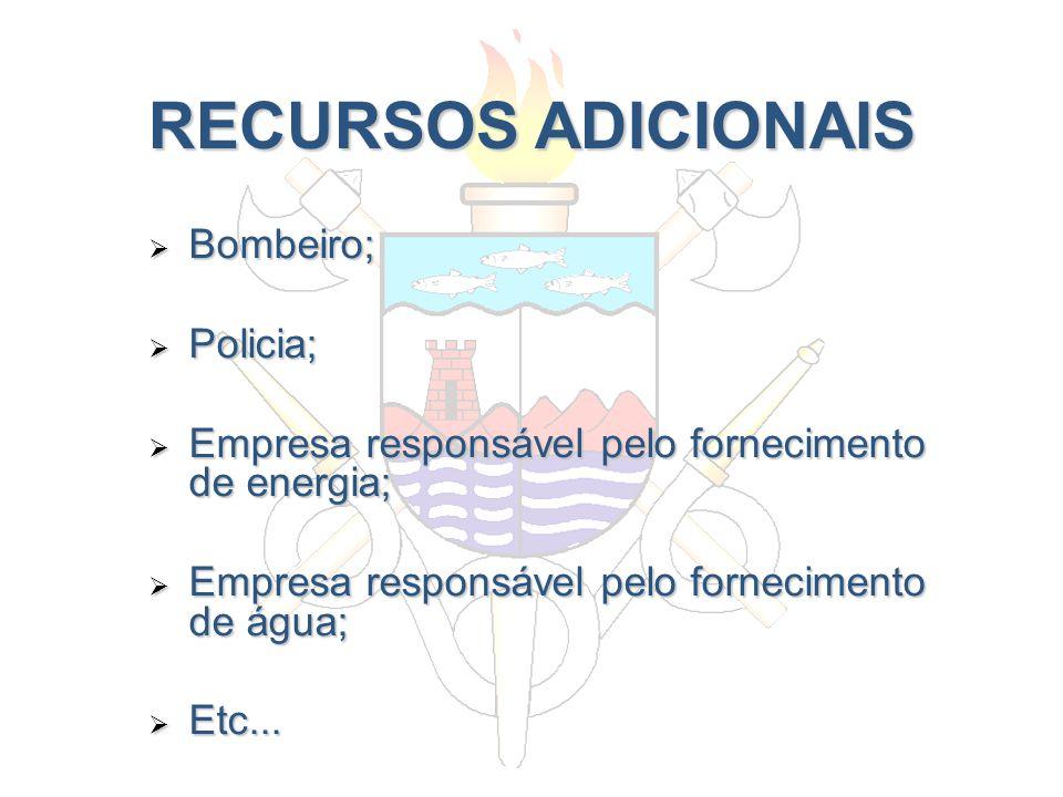 RECURSOS ADICIONAIS Bombeiro; Bombeiro; Policia; Policia; Empresa responsável pelo fornecimento de energia; Empresa responsável pelo fornecimento de e