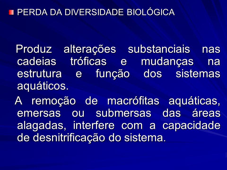 PERDA DA DIVERSIDADE BIOLÓGICA Produz alterações substanciais nas cadeias tróficas e mudanças na estrutura e função dos sistemas aquáticos. Produz alt