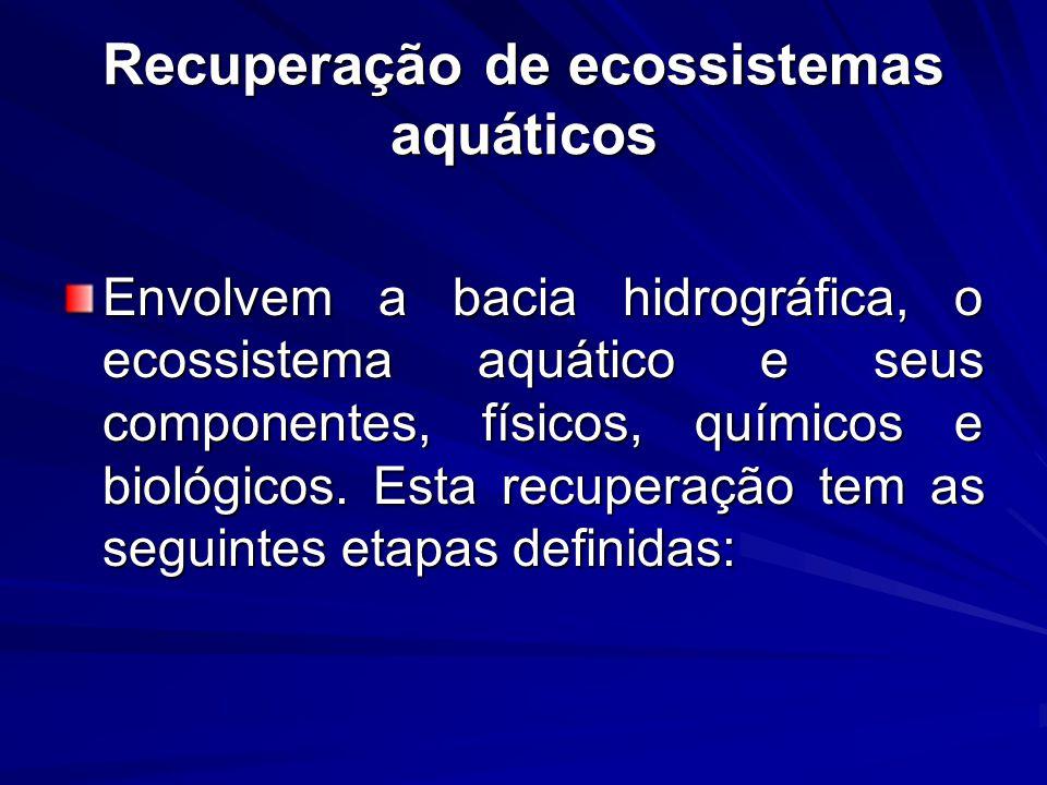 Recuperação de ecossistemas aquáticos Envolvem a bacia hidrográfica, o ecossistema aquático e seus componentes, físicos, químicos e biológicos. Esta r