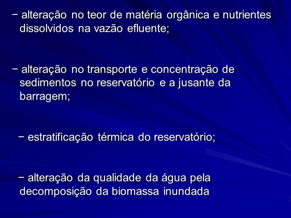 alteração no teor de matéria orgânica e nutrientes dissolvidos na vazão efluente; alteração no teor de matéria orgânica e nutrientes dissolvidos na va