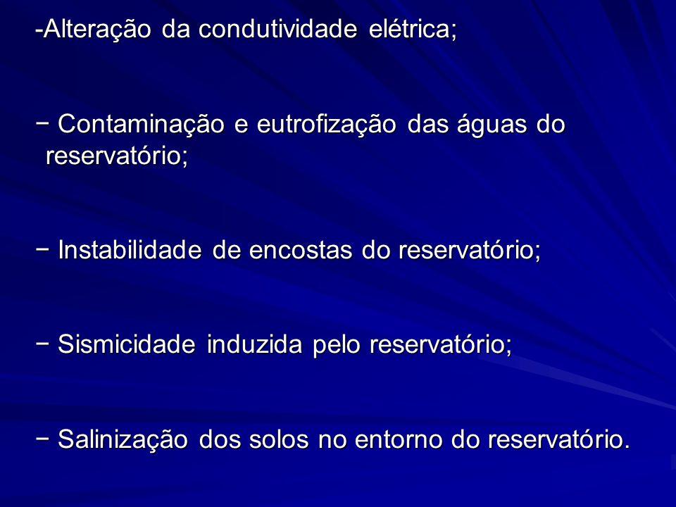 -Alteração da condutividade elétrica; -Alteração da condutividade elétrica; Contaminação e eutrofização das águas do reservatório; Contaminação e eutr