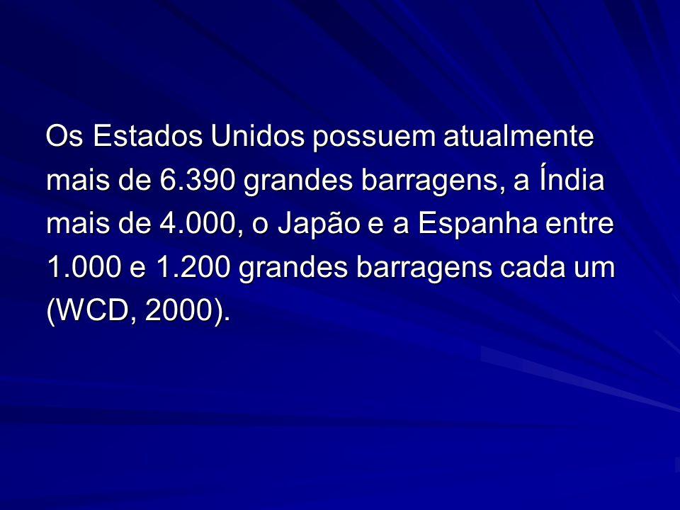 Os Estados Unidos possuem atualmente mais de 6.390 grandes barragens, a Índia mais de 4.000, o Japão e a Espanha entre 1.000 e 1.200 grandes barragens