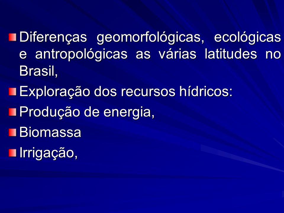Diferenças geomorfológicas, ecológicas e antropológicas as várias latitudes no Brasil, Exploração dos recursos hídricos: Produção de energia, Biomassa