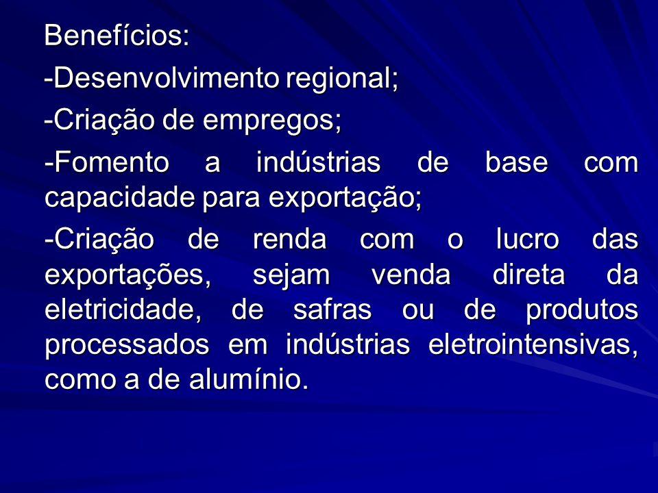 Benefícios: Benefícios: -Desenvolvimento regional; -Desenvolvimento regional; -Criação de empregos; -Criação de empregos; -Fomento a indústrias de bas