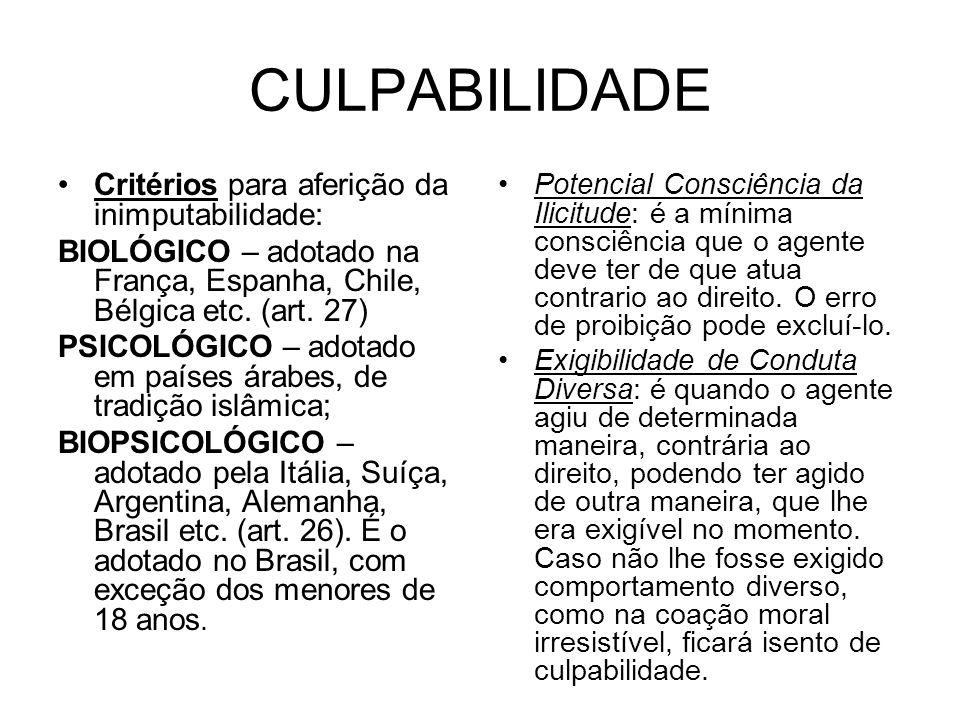 CULPABILIDADE Critérios para aferição da inimputabilidade: BIOLÓGICO – adotado na França, Espanha, Chile, Bélgica etc. (art. 27) PSICOLÓGICO – adotado