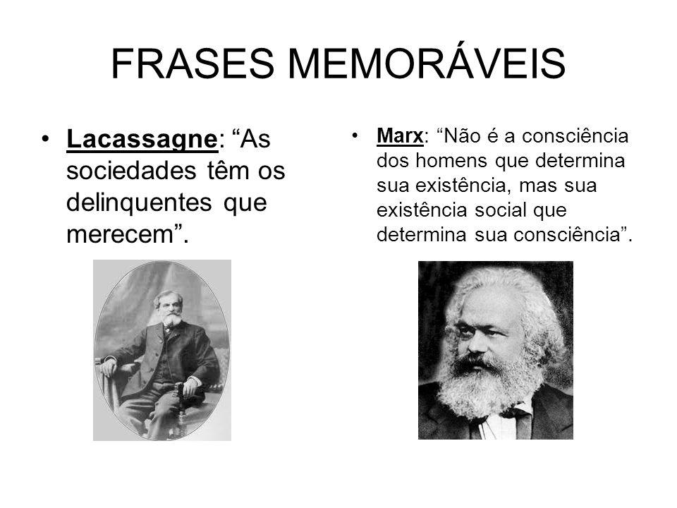 FRASES MEMORÁVEIS Lacassagne: As sociedades têm os delinquentes que merecem. Marx: Não é a consciência dos homens que determina sua existência, mas su
