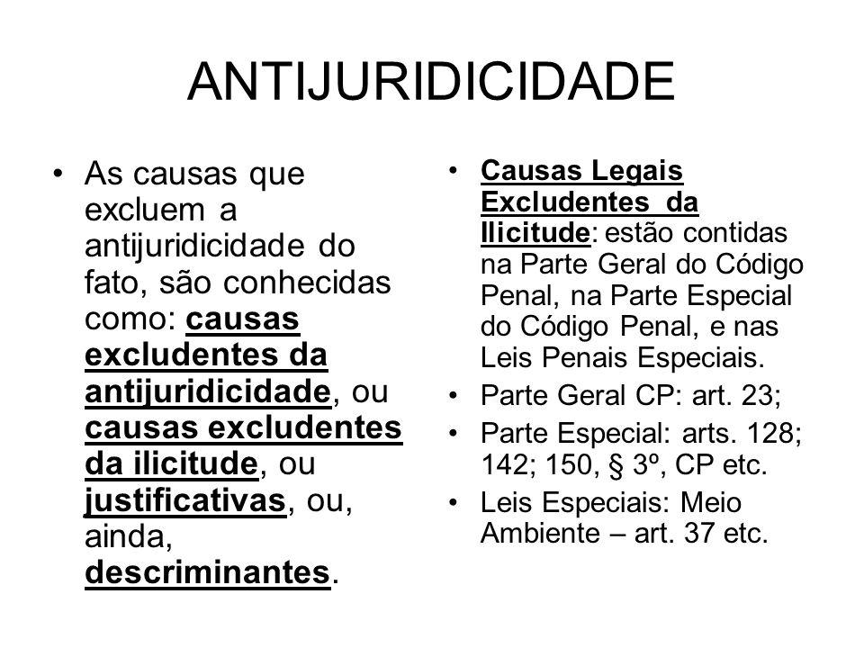 ANTIJURIDICIDADE As causas que excluem a antijuridicidade do fato, são conhecidas como: causas excludentes da antijuridicidade, ou causas excludentes