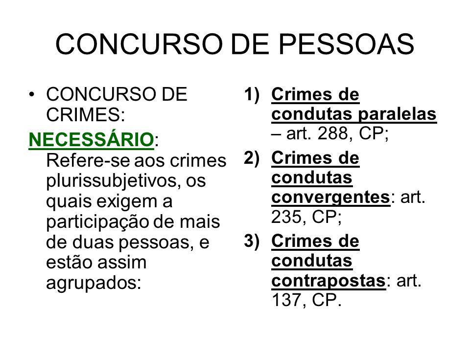 CONCURSO DE PESSOAS CONCURSO DE CRIMES: NECESSÁRIO: Refere-se aos crimes plurissubjetivos, os quais exigem a participação de mais de duas pessoas, e e