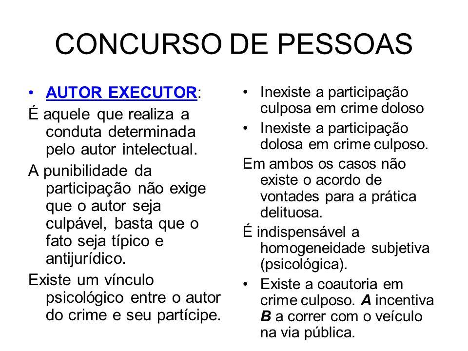 CONCURSO DE PESSOAS AUTOR EXECUTOR: É aquele que realiza a conduta determinada pelo autor intelectual. A punibilidade da participação não exige que o