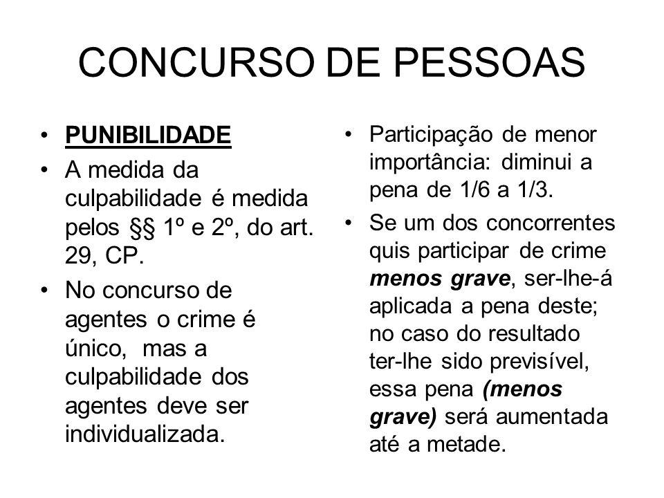 CONCURSO DE PESSOAS PUNIBILIDADE A medida da culpabilidade é medida pelos §§ 1º e 2º, do art. 29, CP. No concurso de agentes o crime é único, mas a cu