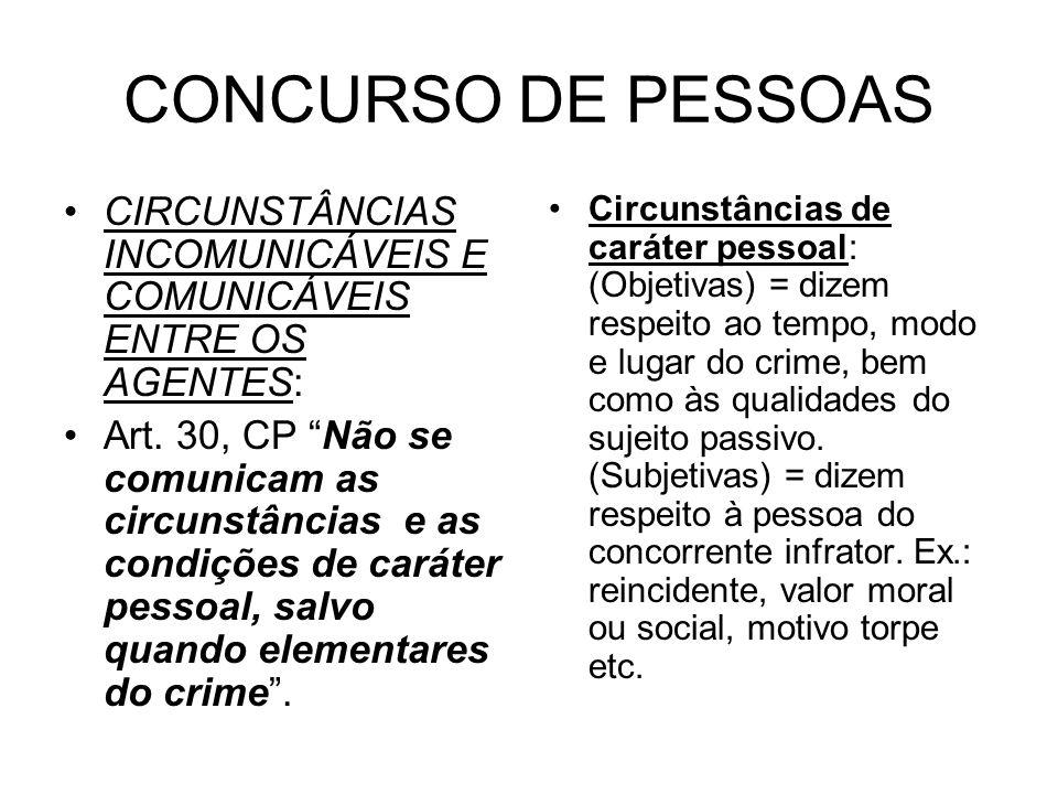 CONCURSO DE PESSOAS CIRCUNSTÂNCIAS INCOMUNICÁVEIS E COMUNICÁVEIS ENTRE OS AGENTES: Art. 30, CP Não se comunicam as circunstâncias e as condições de ca