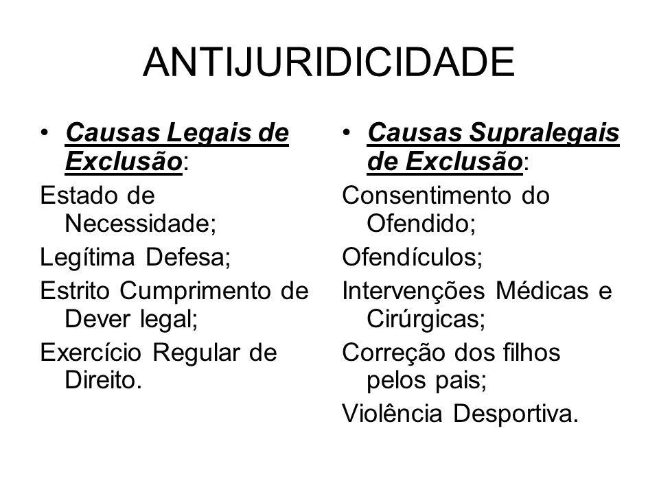 ANTIJURIDICIDADE Causas Legais de Exclusão: Estado de Necessidade; Legítima Defesa; Estrito Cumprimento de Dever legal; Exercício Regular de Direito.