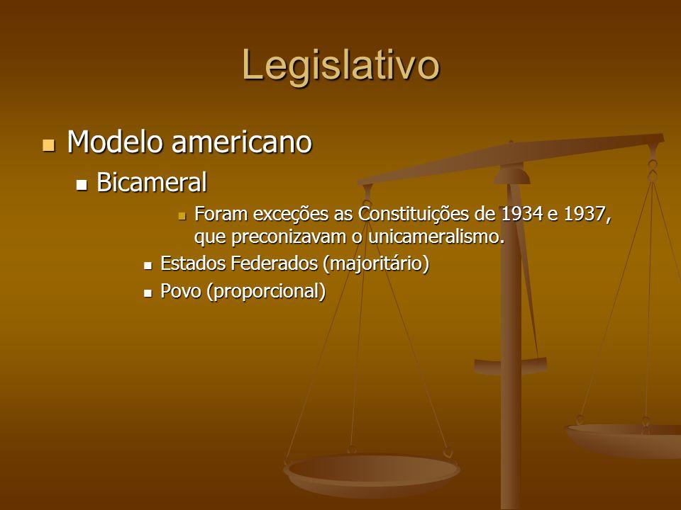 Legislativo Modelo americano Modelo americano Bicameral Bicameral Foram exceções as Constituições de 1934 e 1937, que preconizavam o unicameralismo.
