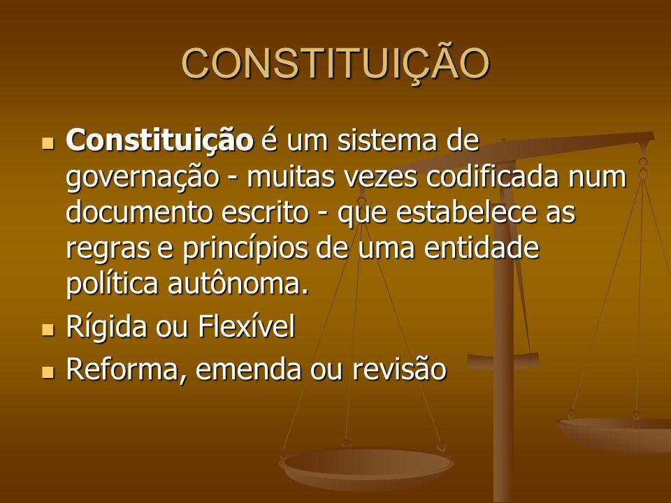 CONSTITUIÇÃO Constituição é um sistema de governação - muitas vezes codificada num documento escrito - que estabelece as regras e princípios de uma en