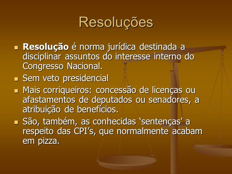 Resoluções Resolução é norma jurídica destinada a disciplinar assuntos do interesse interno do Congresso Nacional. Resolução é norma jurídica destinad