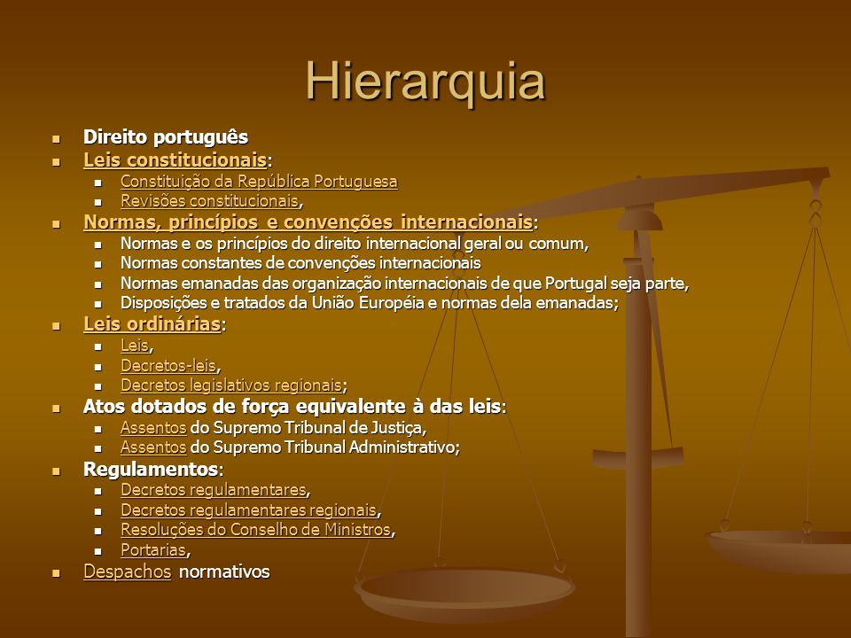 Hierarquia Direito português Direito português Leis constitucionais: Leis constitucionais: Leis constitucionais Leis constitucionais Constituição da R