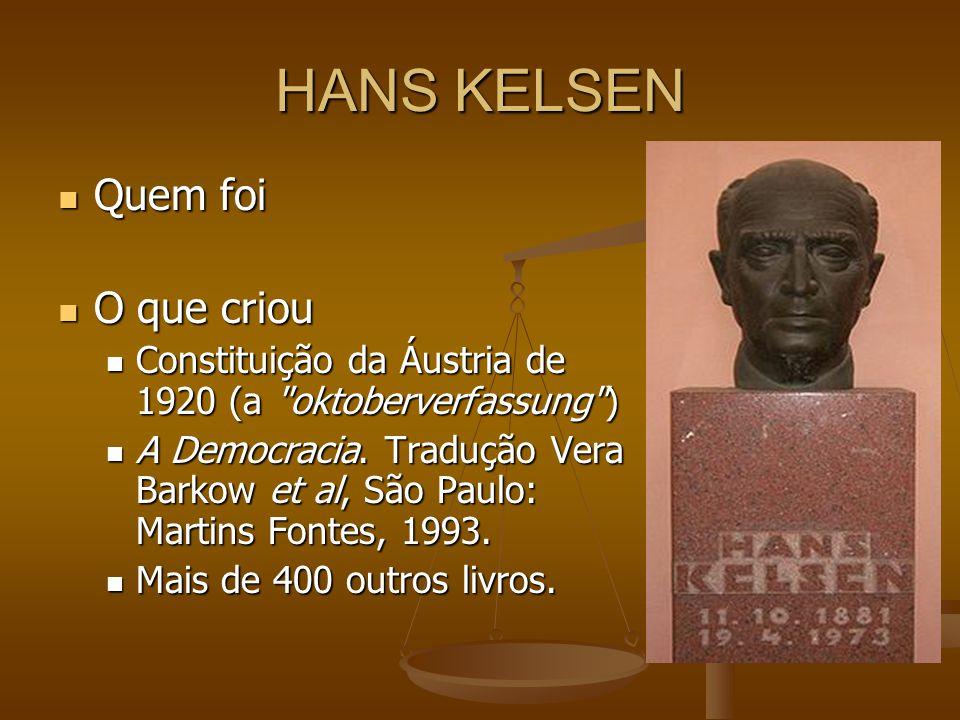 HANS KELSEN Quem foi Quem foi O que criou O que criou Constituição da Áustria de 1920 (a oktoberverfassung ) Constituição da Áustria de 1920 (a oktoberverfassung ) A Democracia.